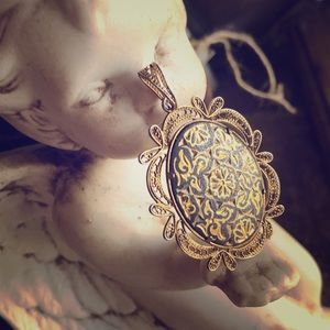 Antique 1920's Filigree Necklace Pendant